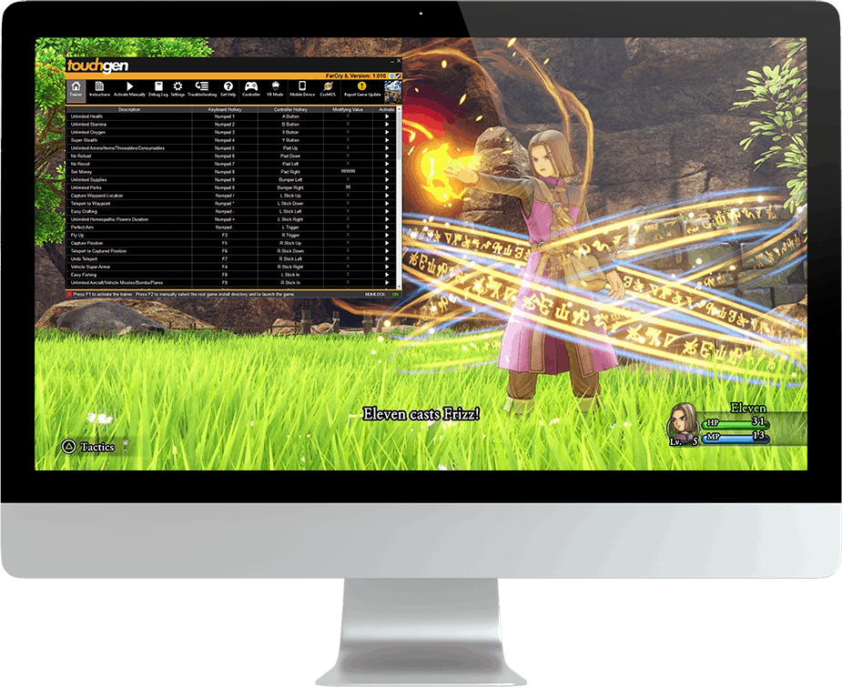 Dragon Quest XI Cheat Trainer On Computer Screen