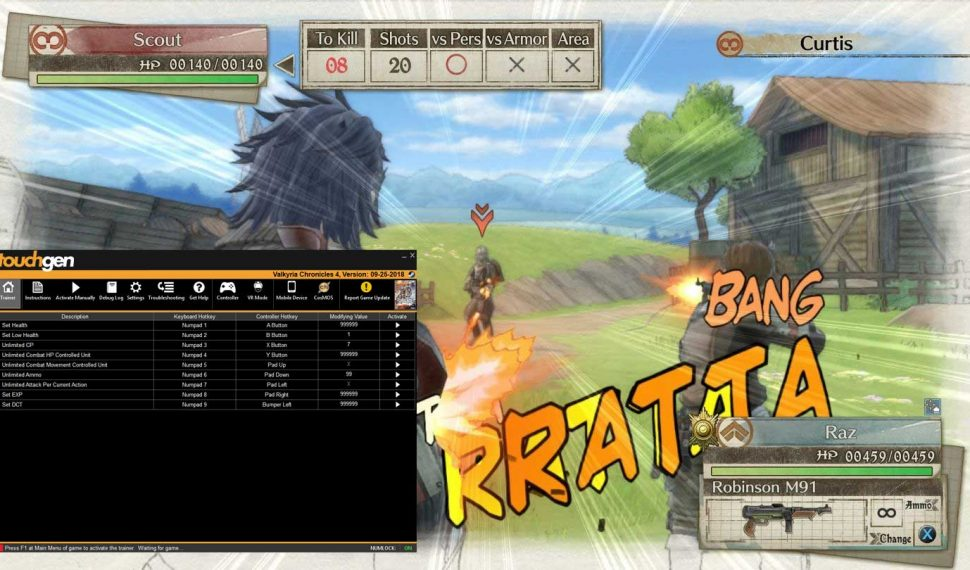 Screenshot of Valkyria Chronicles 4 with cheat software loaded.