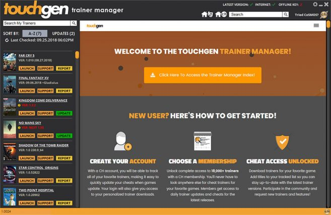 Download and update all your trainers from inside the trainer manager interface.